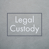 Square gray box with text legal custody in center